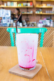 Iced pink milk in cafe - 207077255