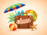 Summer holidays poster with traveling bag, umbrella, volley ball and flip-flops on beige backgound.