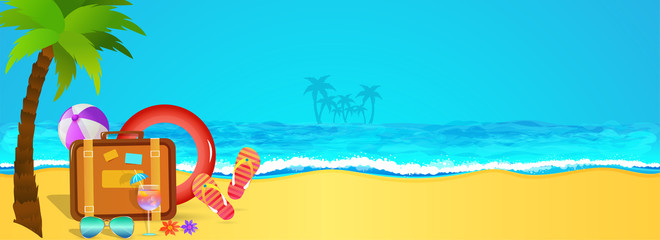 Holiday, web banner design with view of a beach, palm tree, travel bags, flipflops and traveling elements. © Abdul Qaiyoom