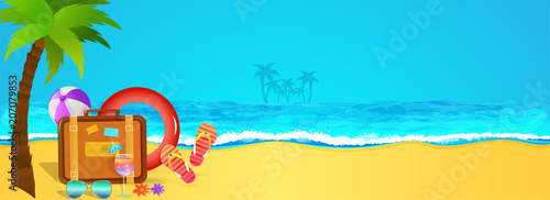 Holiday, web banner design with view of a beach, palm tree, travel bags, flipflops and traveling elements. - 207079853