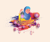 Ramadan Mubarak celebration concept with Islamic lady holding tradtional lantern on colorful background. - 207080466