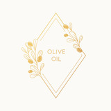 Vector linear frame and badge design for packaging for olive oil products - 207085431
