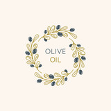Vector linear frame and badge design for packaging for olive oil - 207085474