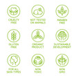 Vector set of design elements for natural and organic cosmetics