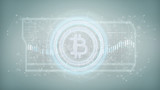 Technology Bitcoin icon on a circle isolated on a background 3d rendering - 207086811