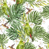 Bright watercolor seamless pattern with tropical leaves and birds.   - 207087273
