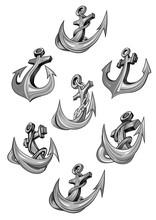 Nautical Heraldic  Icons Of Ship Anchor Sticker