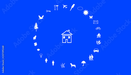 Leinwandbild Motiv Illustration of family values. A house in the middle of a circle with family values. White symbols on a blue background.