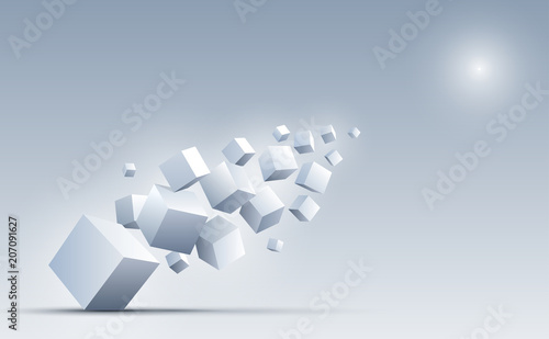 3d cubes floating into the light. Science and technology background. Big data and Internet. Abstract background. Vector illustration.