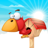 Cartoon birdhouse illustration. Cloud landscape. Vector eps 10