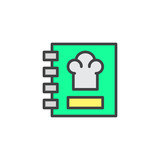 Recipe book filled outline icon, line vector sign, linear colorful pictogram isolated on white. Cooking book symbol, logo illustration. Pixel perfect vector graphics - 207092616