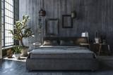 Schlafzimmer mit grauer Wand - 207094484
