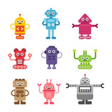 various kind of cute robots character vector flat graphic design illustration set
