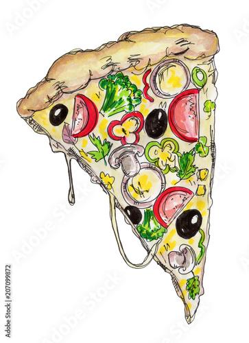 Hand drawn watercolor pizza.