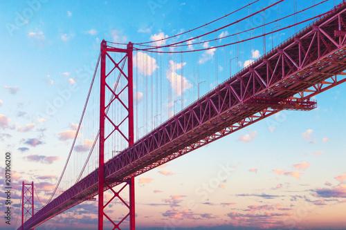 Plakat Puente 25 de Abril en Lisboa. Puntos de interés y arquitectura en Portugal.Paisaje de puesta de sol