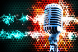 Microphone and stage lights.Concert and rock and heavy music concept. Live music background.Microphone and stage lights