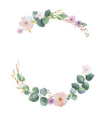 Watercolor vector wreath with green eucalyptus leaves, pink flowers and branches. - 207110629