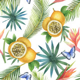 Watercolor vector seamless pattern of passion fruit and palm trees isolated on white background. - 207110674