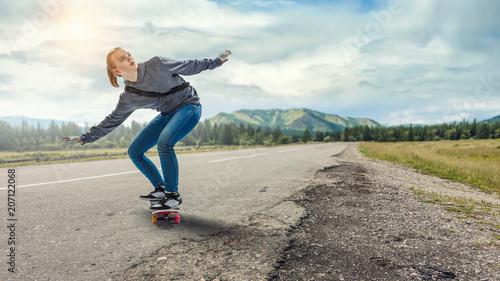 Fotobehang Skateboard Teenager girl ride her skateboard. Mixed media