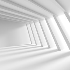 Abstract Interior Concept. White Architecture Background