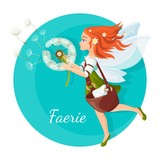 Redhead faerie with transparent wings holds dandelion logo