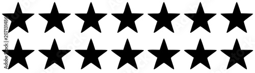 Two rows of black five-pointed stars on a white background © astronira
