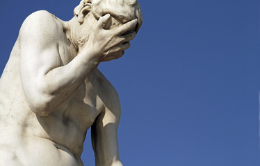 Facepalm statue - disbelief, sadness, depression