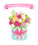 Spring Bouquet of Rose Flowers Pink Red and White - 207134874