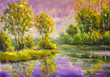 Violet warm sunset dawn over the lake. Rural summer landscape. Trees are reflected in water, a river, a pond. Fragment of oil painting.