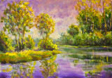 Violet warm sunset dawn over the lake. Rural summer landscape. Trees are reflected in water, a river, a pond. Fragment of oil painting. - 207136093
