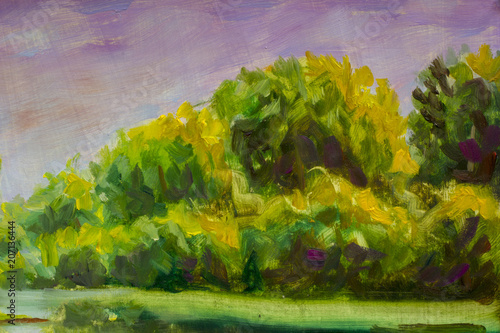 Aluminium Lavendel Abstract green trees. Fragment of oil painting landscape.