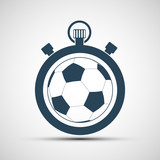Logo sports stopwatch with a soccer ball