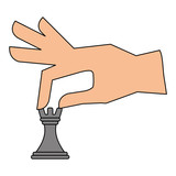 hand holding piece tower chess strategy vector illustration