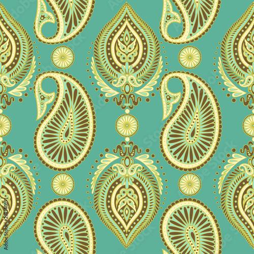 Cotton fabric Paisley vector seamless pattern.