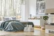 Leinwanddruck Bild - Spacious bedroom interior with fireplace