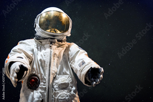 Soviet cosmonaut in outer space. Photomontage image. - 207142683