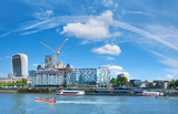 Developing London: panoramic image of the office block construction on the bank of river Thames