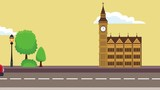 Big ben clock at sunny day High Definition animation colorful scenes - 207147421
