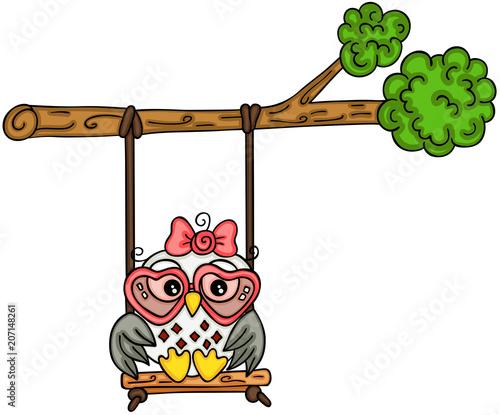 Aluminium Uilen cartoon Cute owl girl swinging on a tree