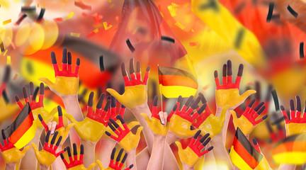 deutsche Hände Flagge Fans Menge Menschen