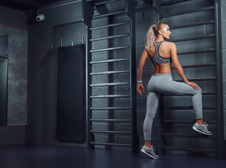 Sexy sportive woman does stretching leaning on a wall bars in the modern fitness center. © Fxquadro