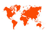 red map of the world ,Silhouette background