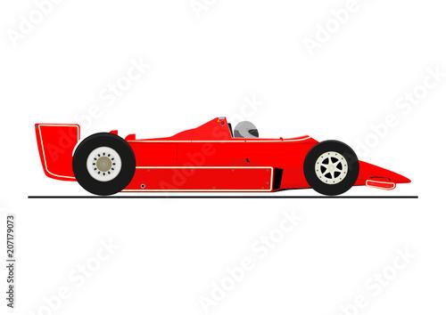 Fotobehang F1 Sticker of racing car. Side view. Flat vector.