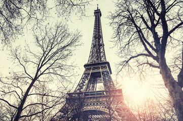 Eiffel Tower in Paris, France. Vintage filter