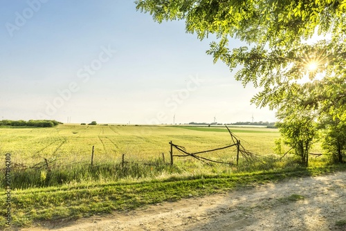 Fotobehang Oranje Nature landscape of rural fields and agriculture land.
