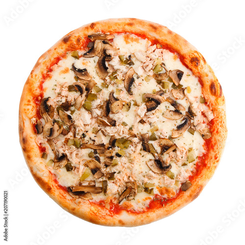 Fotobehang Pizzeria Delicious classic italian Pizza with spicy chicken, mushrooms and cheese.