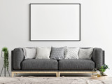 Gray sofa with mock up poster, Concept interior design, 3d render, 3d illustration - 207197470