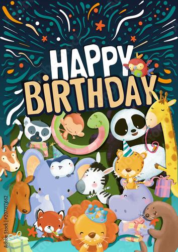 Poster Feliz cumpleaños cartel con animales