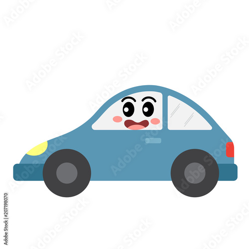 Aluminium Auto Car transportation cartoon character side view isolated on white background vector illustration.