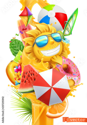 Summer cocktail 3d vector. Splash of juice and sweet tropical fruits